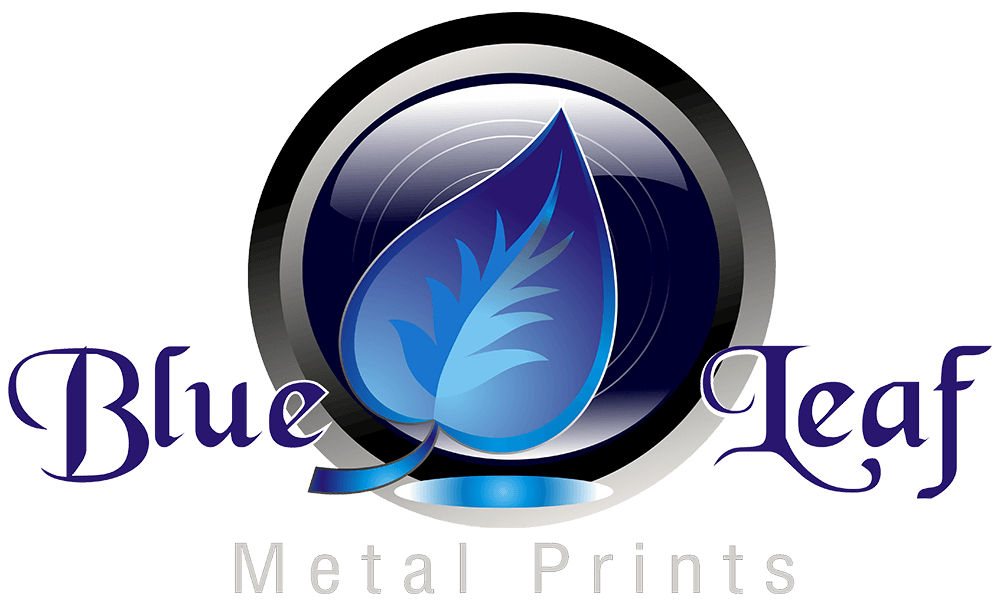 Blue Leaf Metal Prints Logo